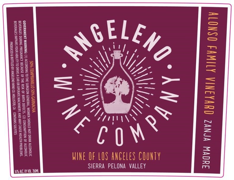 Angeleno Wine Co Zanja Madre 2018  Front Label