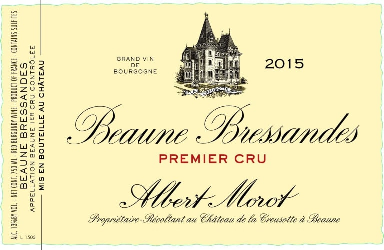 Albert Morot Beaune Bressandes Premier Cru (375ML half-bottle) 2015  Front Label