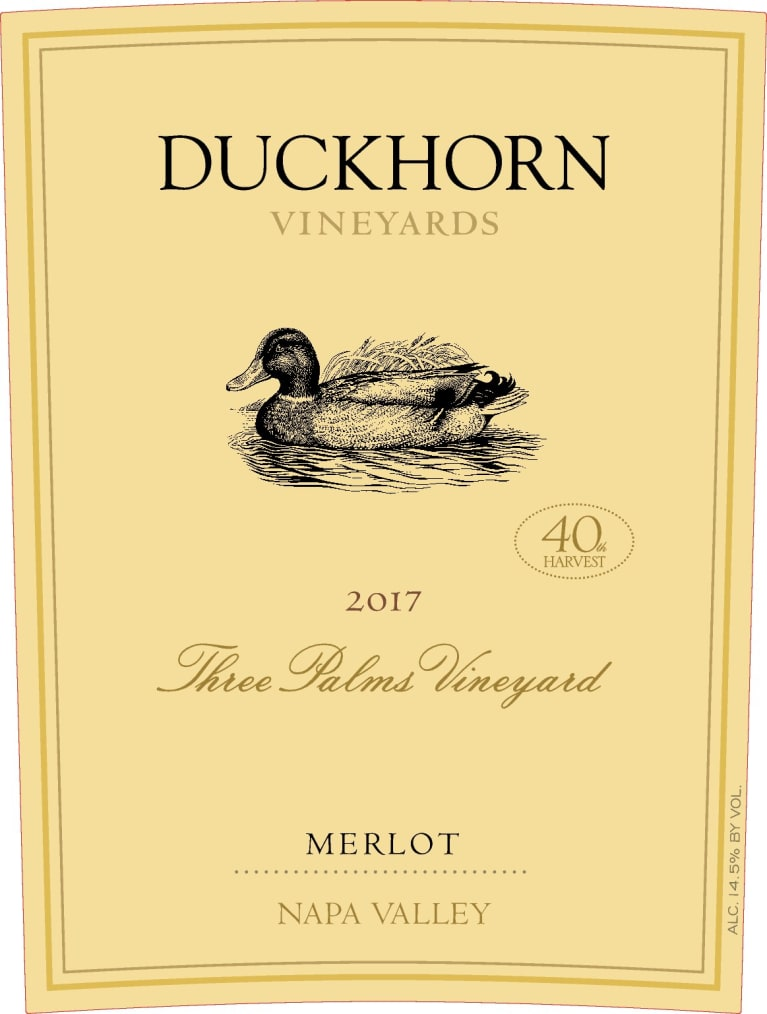 Duckhorn Three Palms Merlot 2017  Front Label