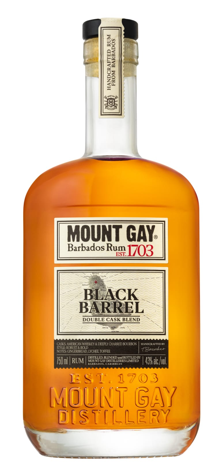 Mount Gay Black Barrel Rum  Front Bottle Shot