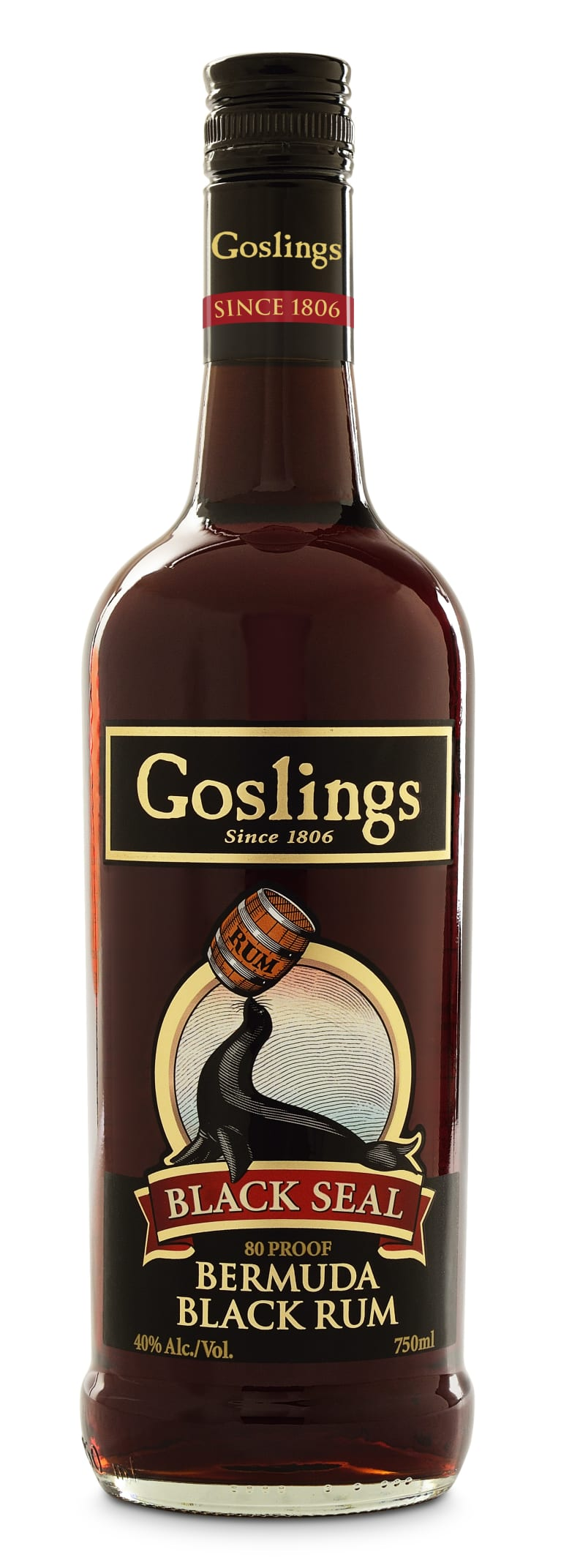 Goslings Black Seal Dark Rum Front Bottle Shot