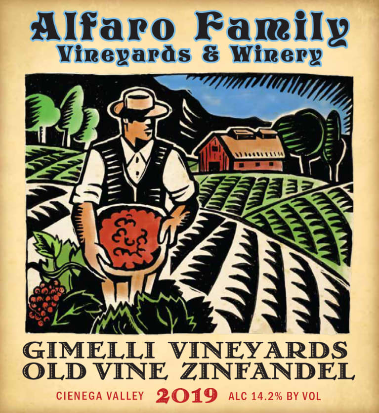 Alfaro Family Gimelli Vineyards Old Vine Zinfandel 2019  Front Label