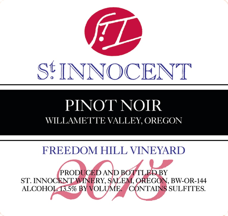 St. Innocent Freedom Hill Pinot Noir (375 half-bottle) 2015  Front Label