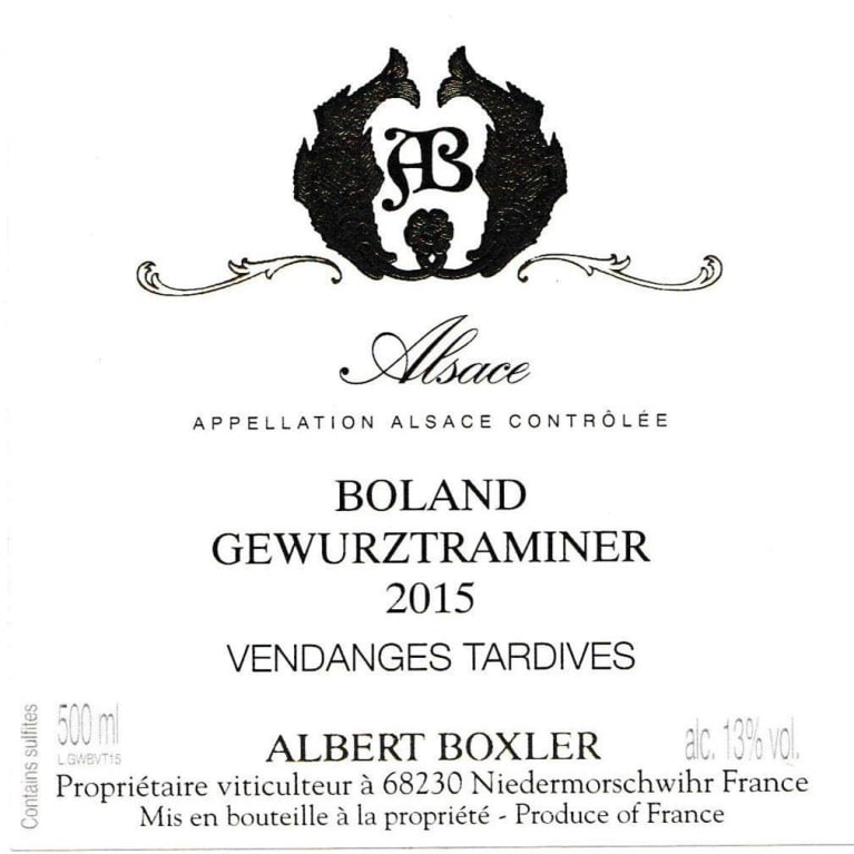Albert Boxler Gewurztraminer Vendanges Tardives Boland (500ML) 2015  Front Label