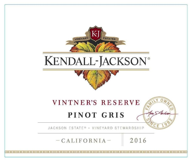 Kendall-Jackson Vintner's Reserve Pinot Gris 2016  Front Label