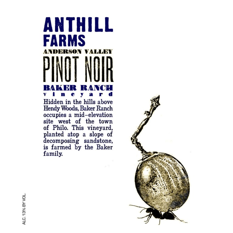 Anthill Farms Baker Ranch Vineyard Pinot Noir 2016  Front Label