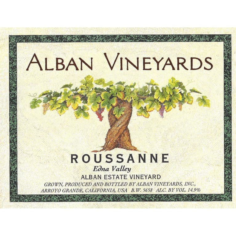 Alban Estate Roussanne 2013  Front Label
