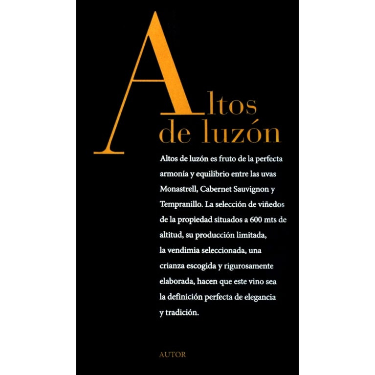 Bodegas Luzon Altos de Luzon 2013  Front Label