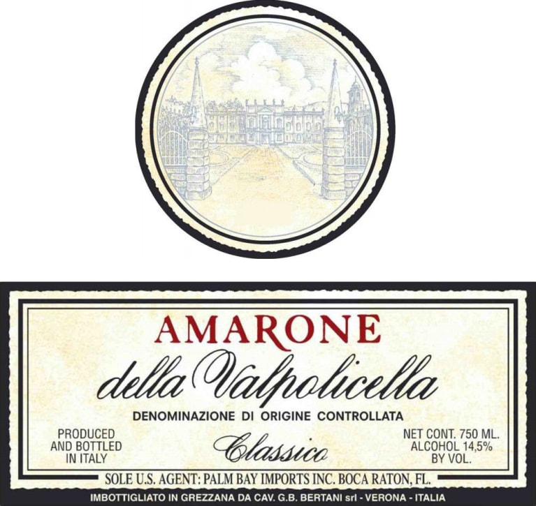 Bertani Amarone Classico 2009 Front Label