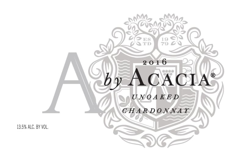 A by Acacia Unoaked Chardonnay 2016 Front Label