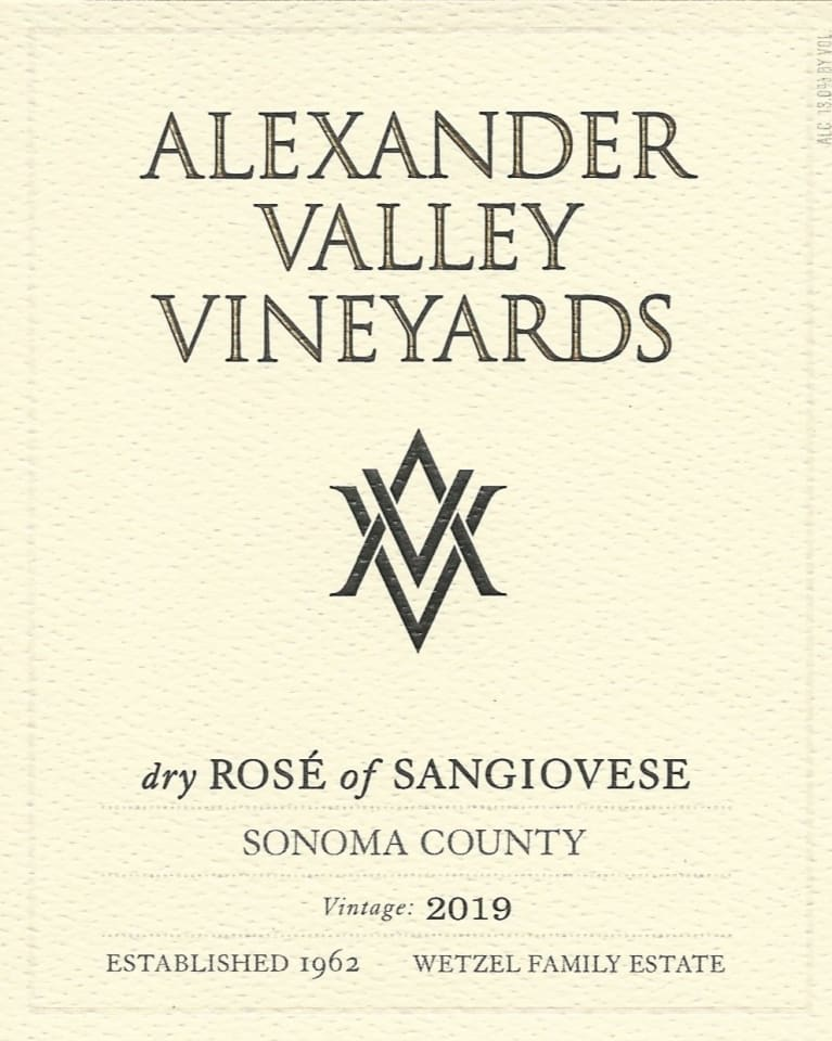 Alexander Valley Vineyards Dry Rose of Sangiovese 2019  Front Label