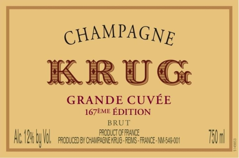 Krug Grande Cuvee Brut (167th Edition) Front Label