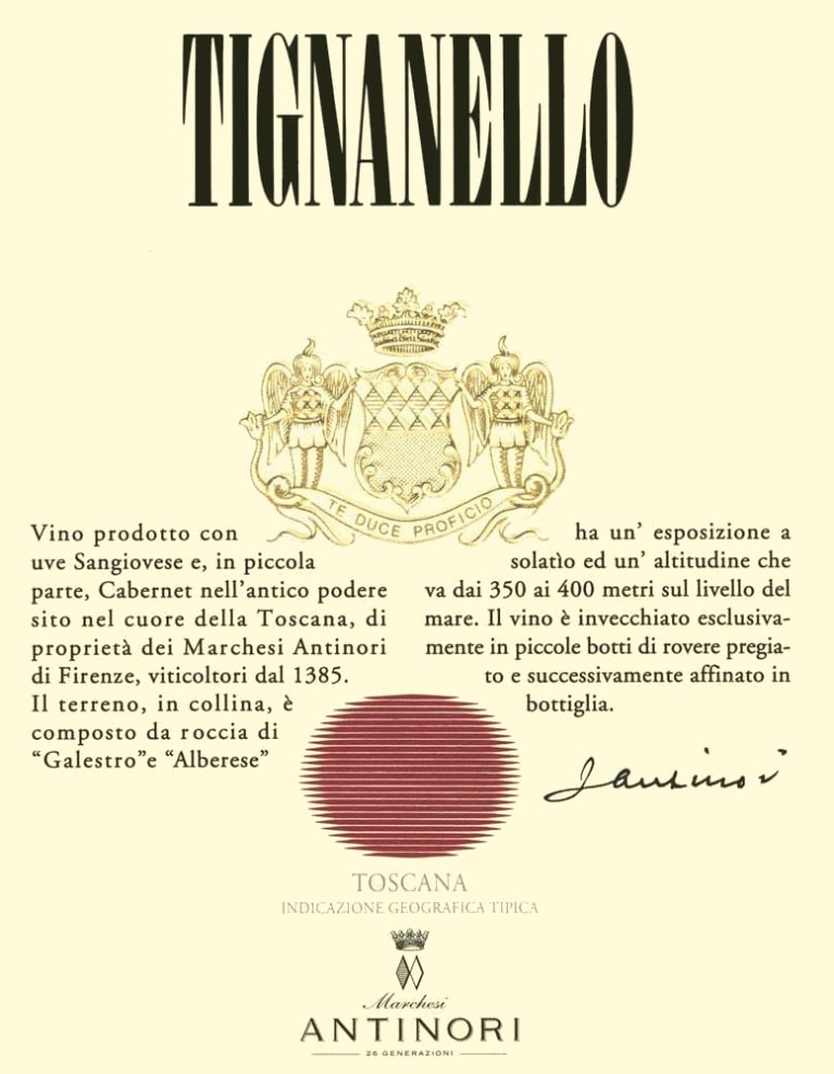 Antinori Tignanello (3 Liter Bottle) 2016 Front Label