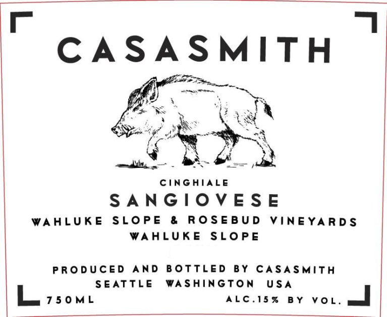 Casa Smith Cinghiale Sangiovese 2017 Front Label
