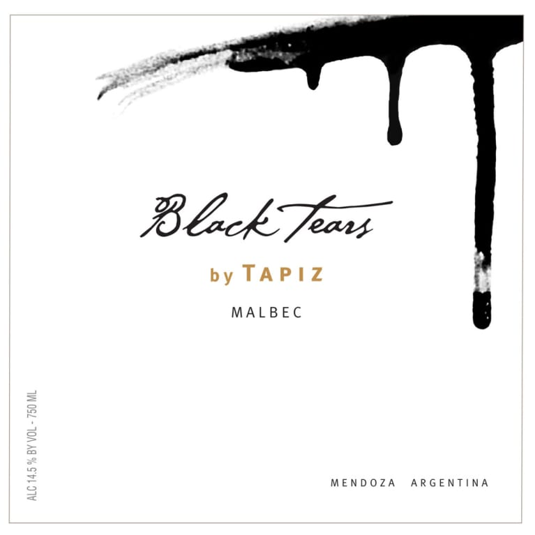 Tapiz Black Tears Malbec 2015  Front Label