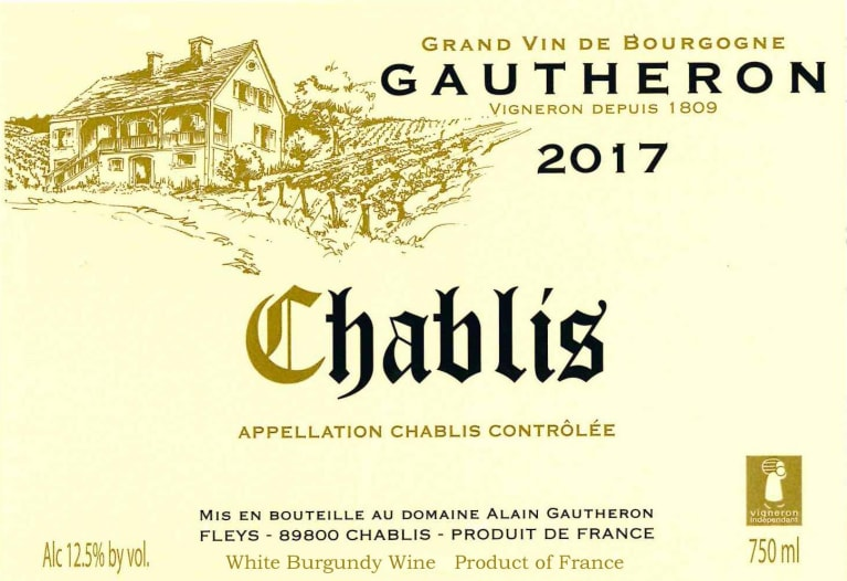 Alain Gautheron Chablis 2017  Front Label