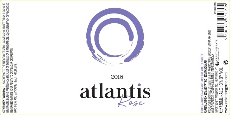 Argyros Estate Atlantis Rose 2018  Front Label