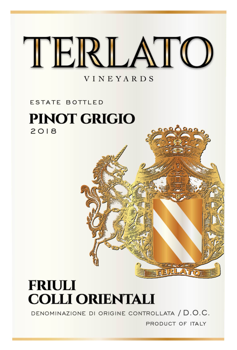 Terlato Family Vineyards Friuli Pinot Grigio 2018 Front Label