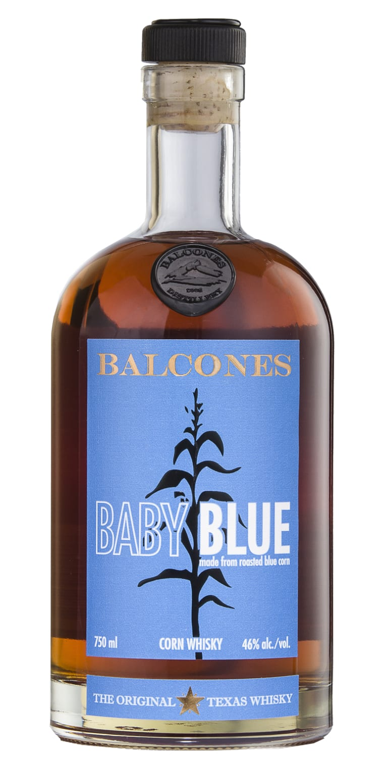 Balcones Baby Blue Corn Whisky Front Bottle Shot