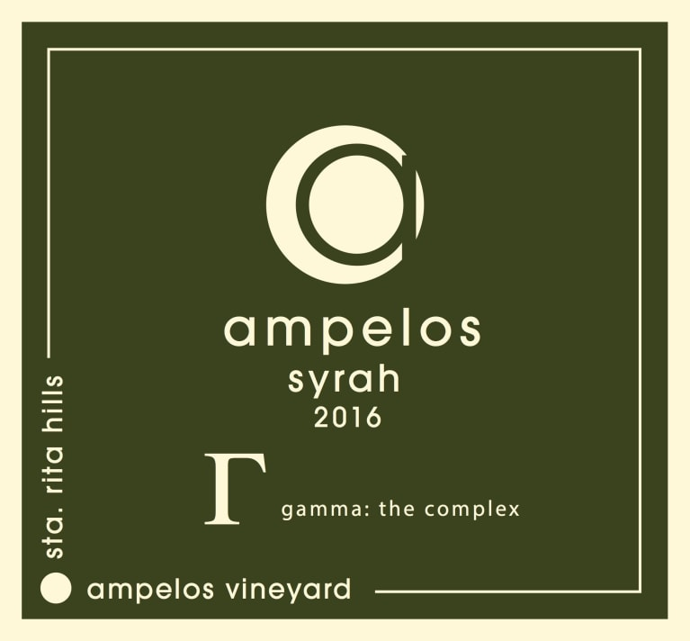 Ampelos Cellars Gamma: The Complex Syrah 2016  Front Label