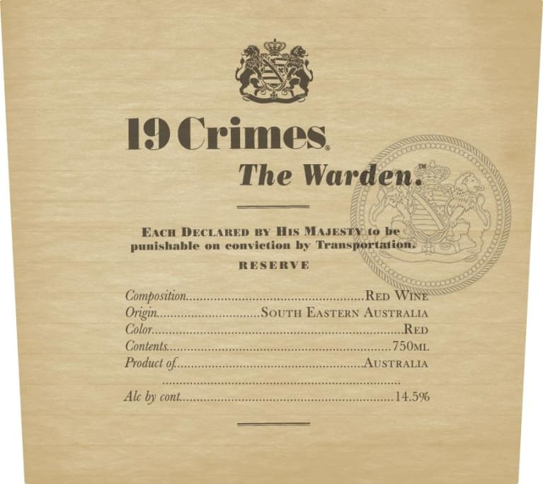 19 Crimes The Warden 2017  Front Label