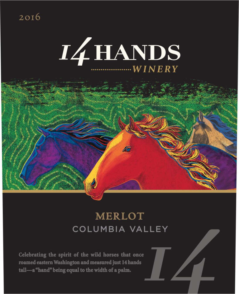 14 Hands Merlot 2016 Front Label