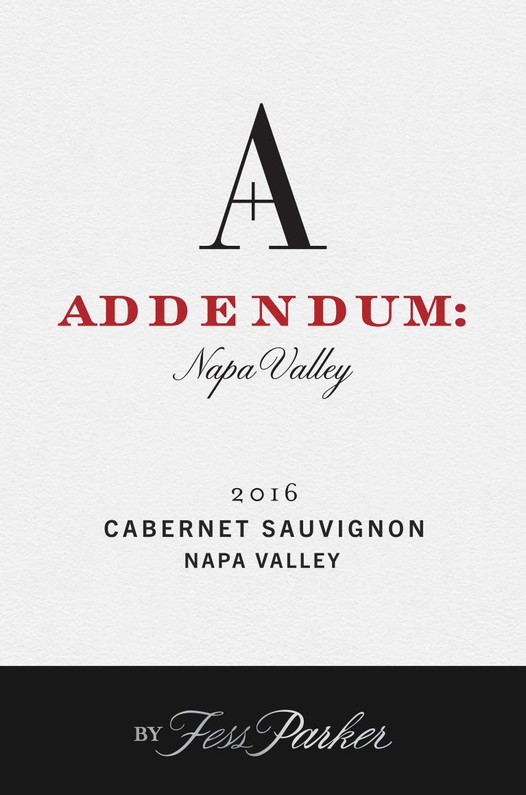 Addendum Napa Valley Cabernet Sauvignon 2016  Front Label