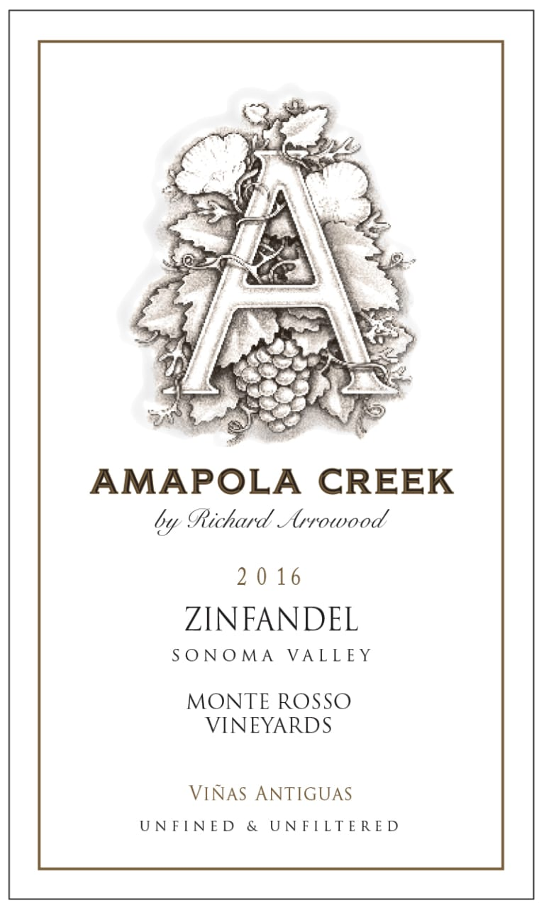 Amapola Creek Monte Rosso Vineyard Zinfandel 2016  Front Label