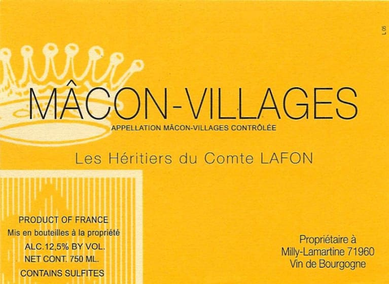 Heritiers du Comte Lafon Macon-Villages 2018  Front Label