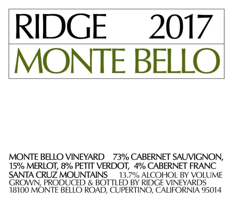 Ridge Monte Bello (1.5 Liter Magnum) 2017  Front Label