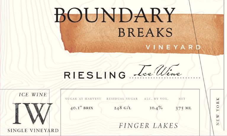Boundary Breaks Ice Wine (375ML half-bottle) 2014 Front Label