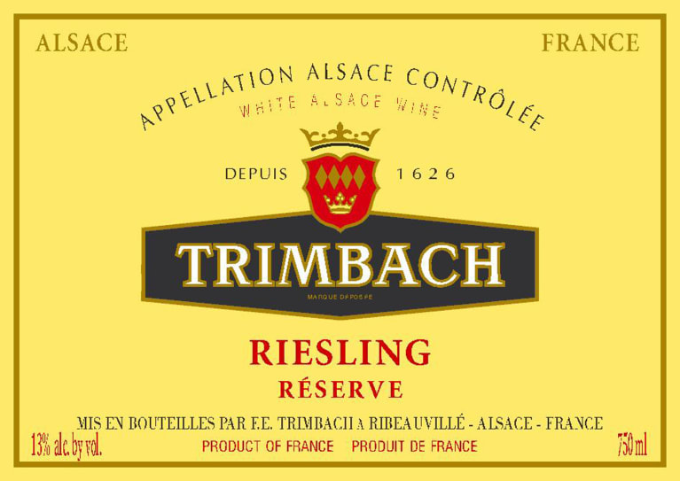 Trimbach Reserve Riesling 2018  Front Label