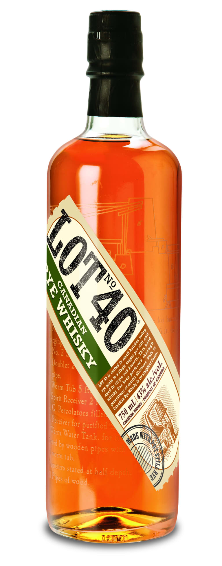 Lot 40 Rye Canadian Whisky  Front Bottle Shot