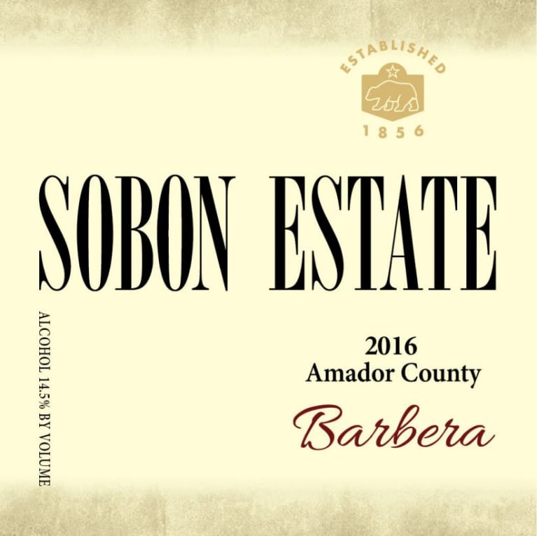 Sobon Estate Barbera 2016 Front Label