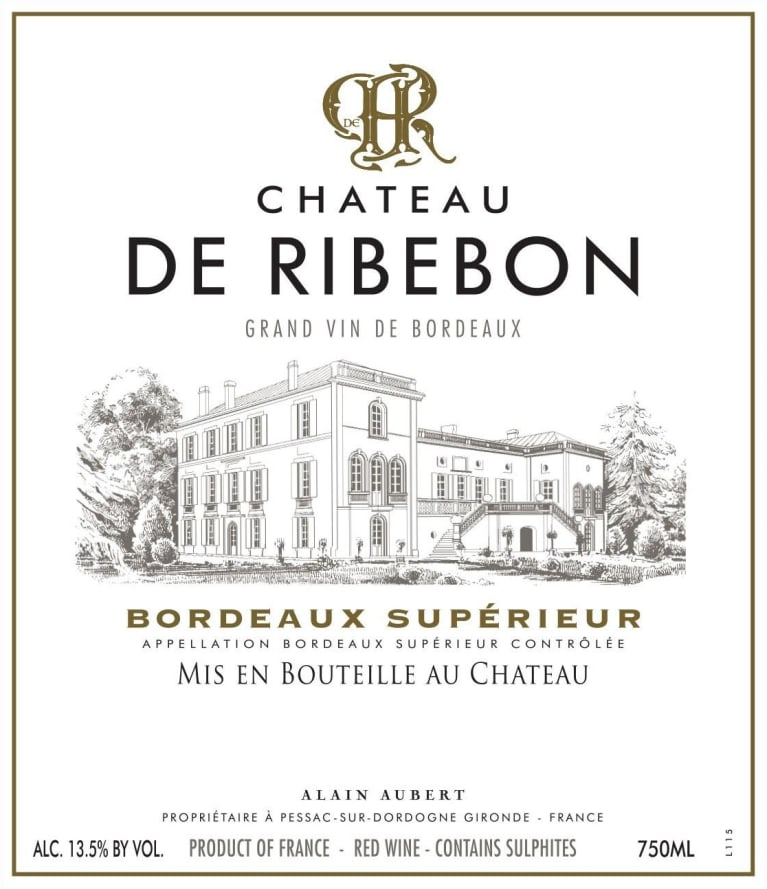 Chateau de Ribebon Bordeaux Superieur 2016  Front Label
