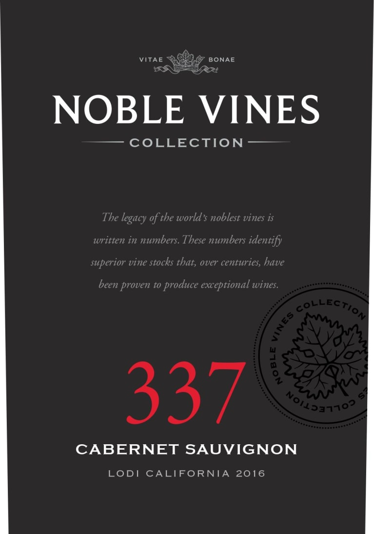Noble Vines 337 Lodi Cabernet Sauvignon 2016 Front Label