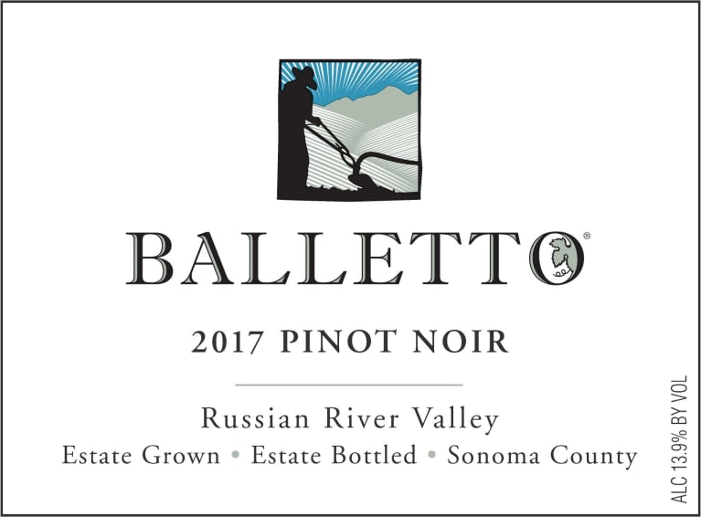 Balletto Winery Russian River Valley Estate Pinot Noir 2017  Front Label