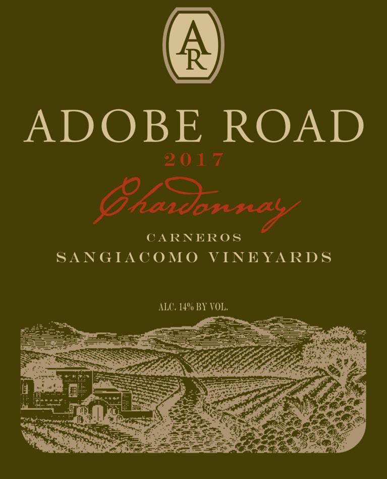 Adobe Road Sangiacomo Vineyard Chardonnay 2017  Front Label