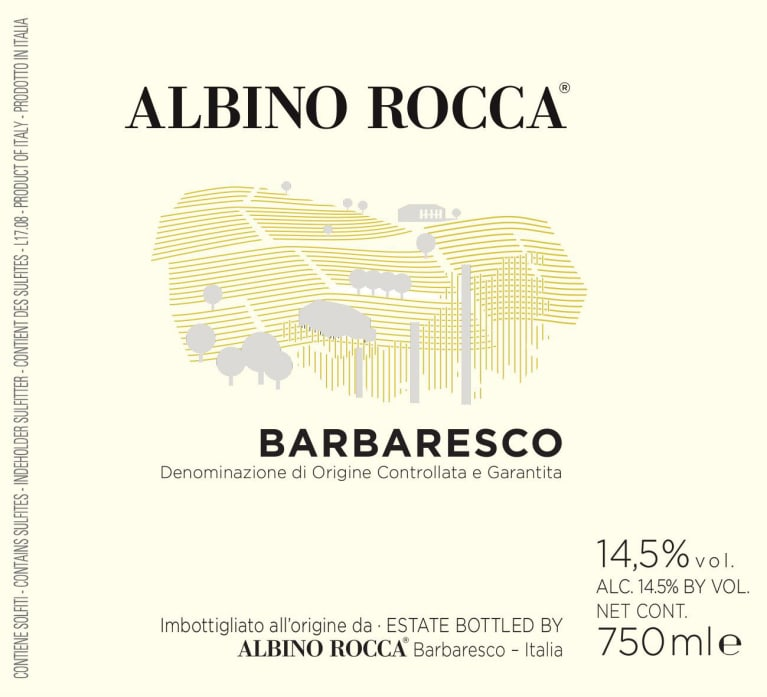 Albino Rocca Barbaresco 2017  Front Label