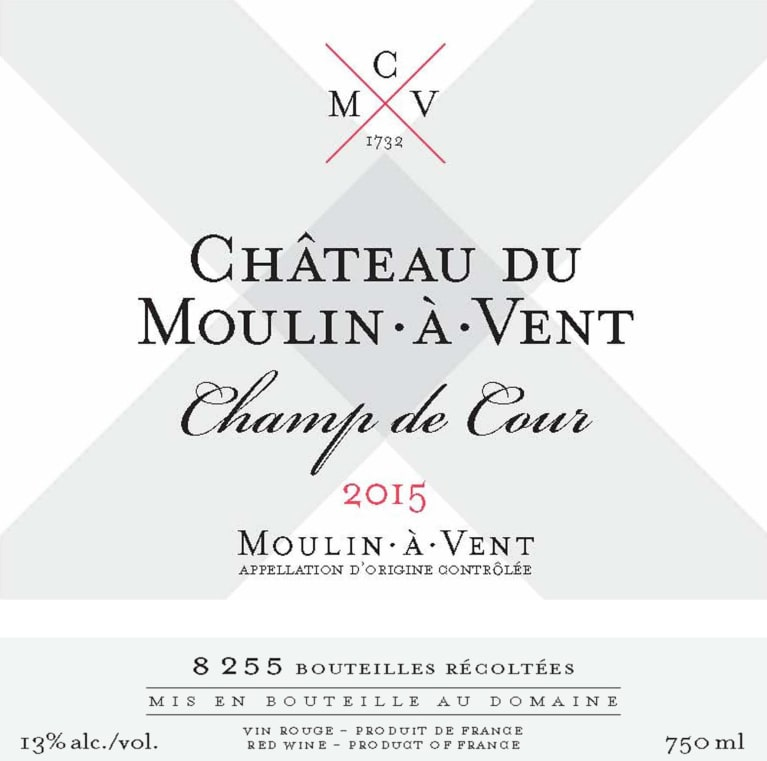 Chateau du Moulin a Vent Champ de Cour 2015 Front Label