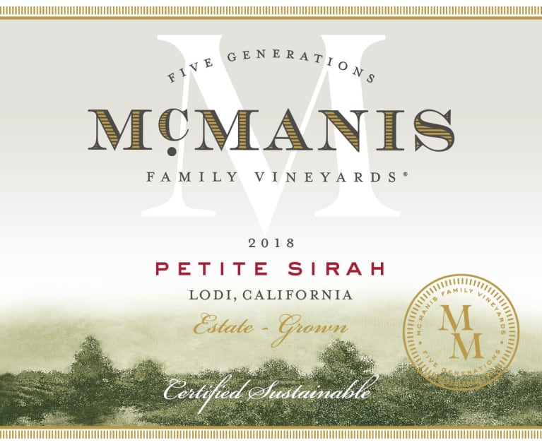 McManis Family Vineyards Petite Sirah 2018  Front Label