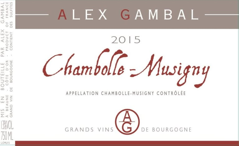 Alex Gambal Chambolle-Musigny 2015  Front Label