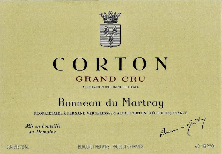 Bonneau du Martray Corton Grand Cru 2016 Front Label