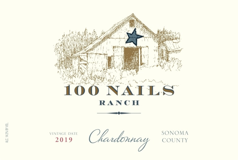 100 Nails Ranch Chardonnay 2019  Front Label