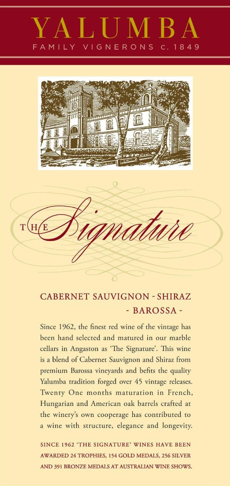 Yalumba The Signature Cabernet/Shiraz 2015  Front Label