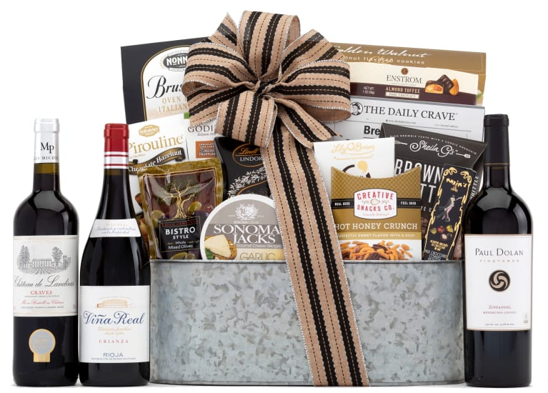 wine.com 90 Point Red Wine Trio & Vintage Styled Gift Basket  Gift Product Image