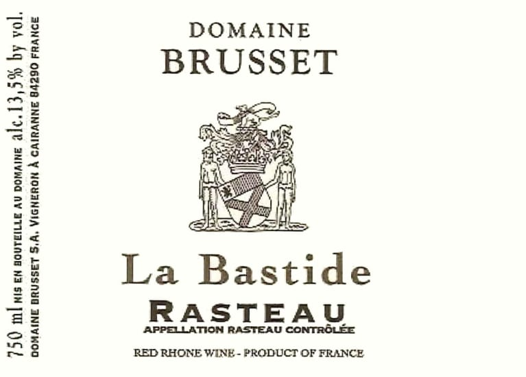 Domaine Brusset Rasteau La Bastide 2017  Front Label