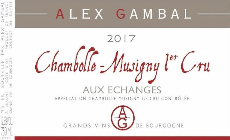 Alex Gambal Chambolle-Musigny Aux Echanges Premier Cru 2017  Front Label