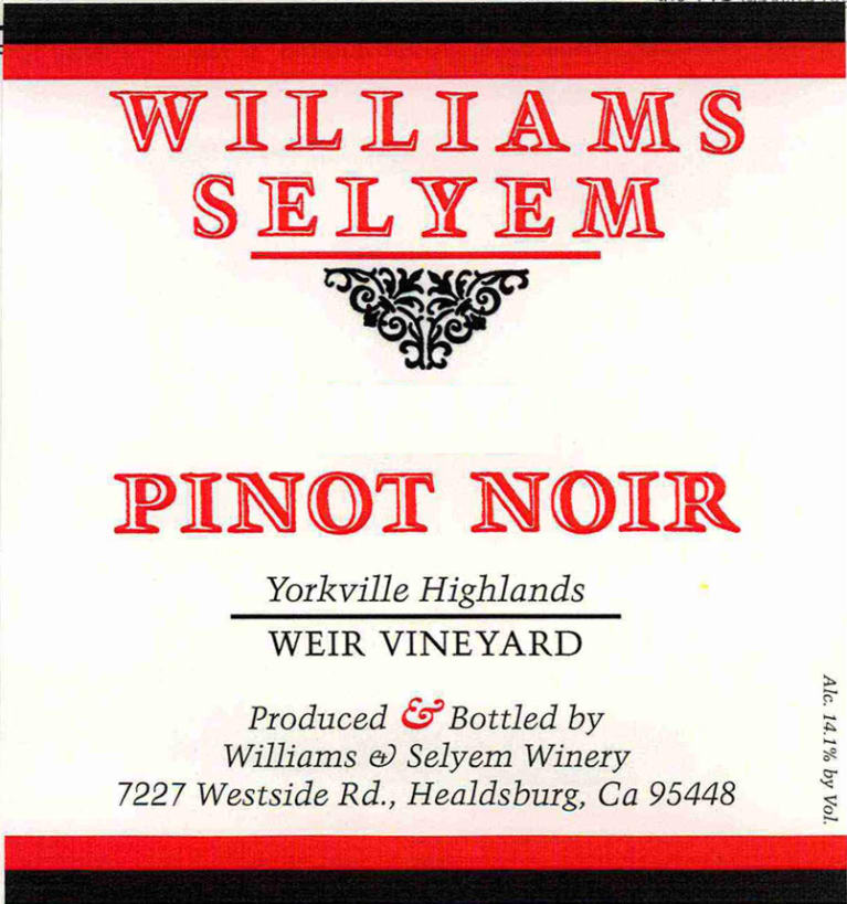 Williams Selyem Weir Vineyard Pinot Noir 2016 Front Label