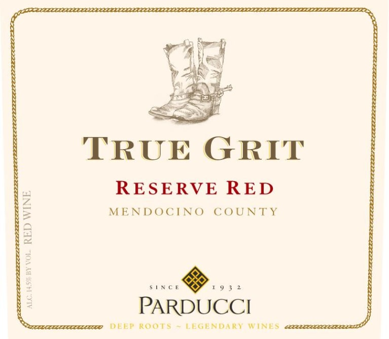 Parducci True Grit Reserve Red Blend 2018  Front Label